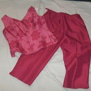 Vintage Robbie Bee 2 Pc Silk Capri Pantsuit